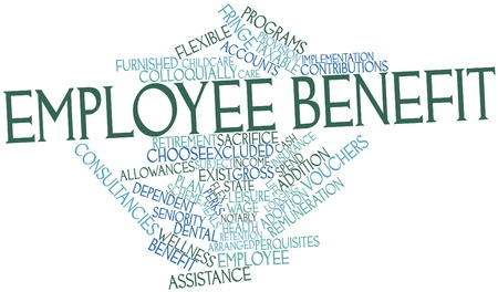 to exist: Abstract word cloud for Employee benefit with related tags and terms