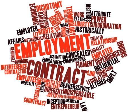 arbitrario: Nube palabra abstracta por contrato de trabajo con las etiquetas y términos relacionados