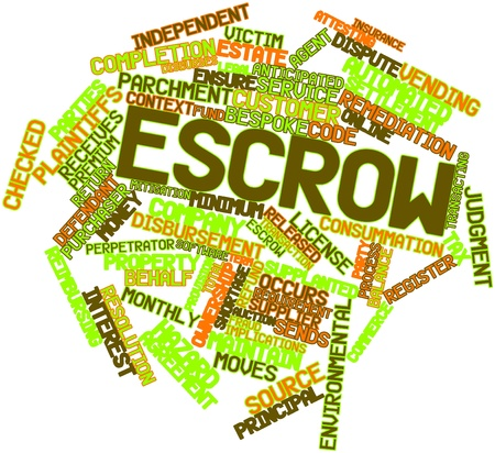 in escrow: Abstract word cloud for Escrow with related tags and terms