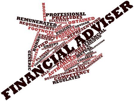 Abstracte woord wolk voor Financieel adviseur met gerelateerde tags en termen