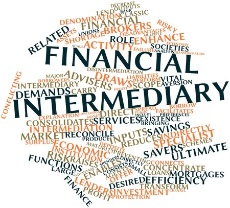 brokers: Abstract word cloud for Financial intermediary with related tags and terms
