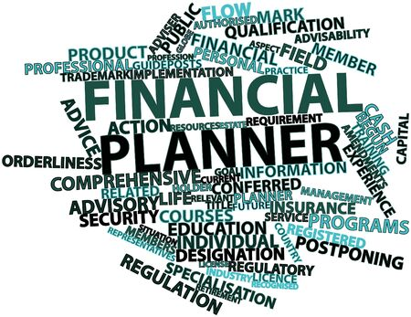 recognised: Abstract word cloud for Financial planner with related tags and terms