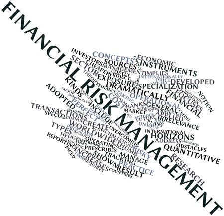 focuses: Abstract word cloud for Financial risk management with related tags and terms Stock Photo