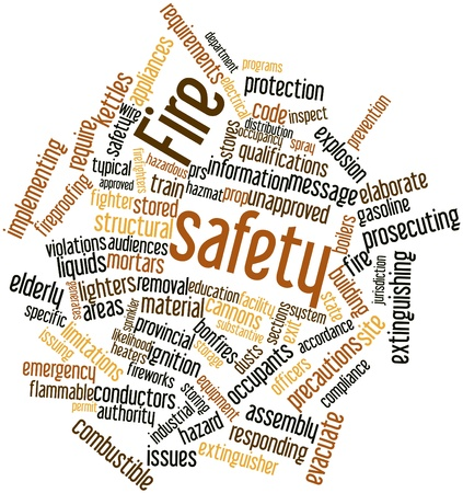 combustible: Abstract word cloud for Fire safety with related tags and terms