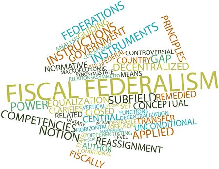 enforce: Abstract word cloud for Fiscal federalism with related tags and terms