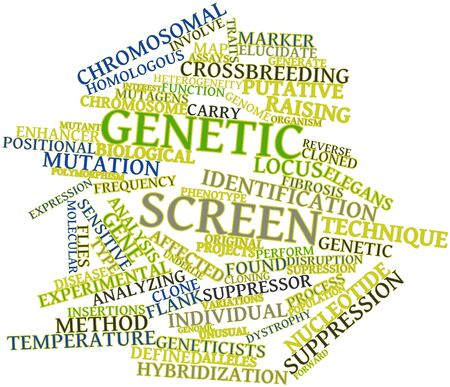 genomic: Abstract word cloud for Genetic screen with related tags and terms Stock Photo