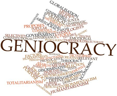 Abstract word cloud for Geniocracy with related tags and terms Stock Photo