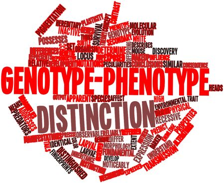 manifestations: Abstract word cloud for Genotype-phenotype distinction with related tags and terms