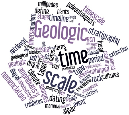 stratigraphy: Abstract word cloud for Geologic time scale with related tags and terms Stock Photo