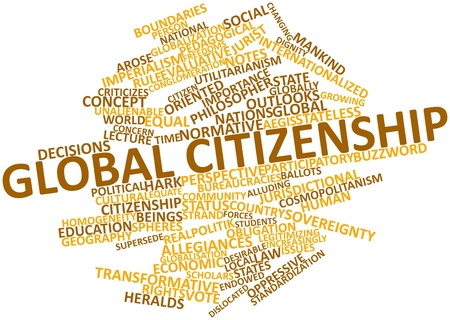 Abstract word cloud for Global citizenship with related tags and terms photo
