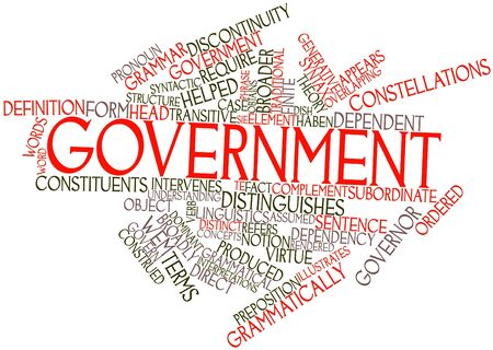 discontinuity: Abstract word cloud for Government with related tags and terms Stock Photo