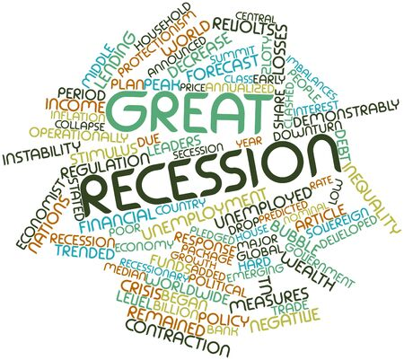 recession: Abstract word cloud for Great Recession with related tags and terms Stock Photo