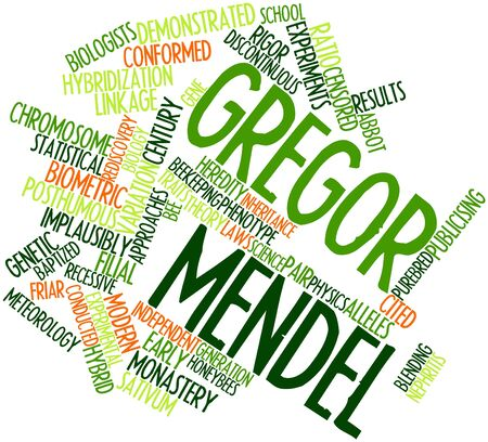 discontinuous: Abstract word cloud for Gregor Mendel with related tags and terms Stock Photo