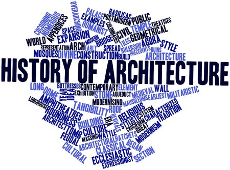 roundness: Abstract word cloud for History of architecture with related tags and terms Stock Photo