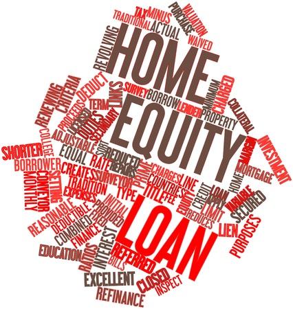 �quit�: Nuage de mot abstrait pour le pr�t sur valeur domiciliaire avec des �tiquettes et des termes connexes Banque d'images