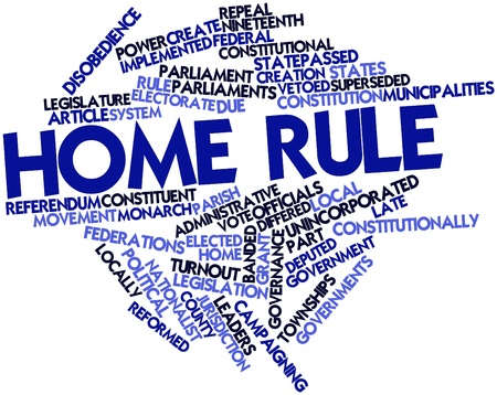 forerunner: Abstract word cloud for Home rule with related tags and terms Stock Photo