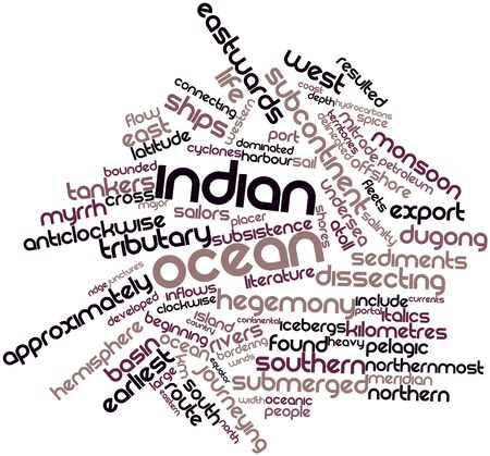submerged: Abstract word cloud for Indian Ocean with related tags and terms Stock Photo