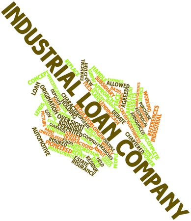 investigative: Abstract word cloud for Industrial loan company with related tags and terms