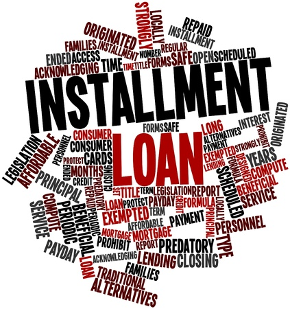 installment: Abstract word cloud for Installment loan with related tags and terms Stock Photo