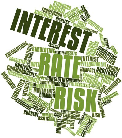 liabilities: Abstract word cloud for Interest rate risk with related tags and terms Stock Photo
