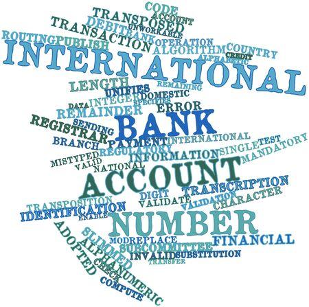 transpozycji: Abstract cloud słowo międzynarodowego numeru rachunku bankowego z pokrewnymi tagów oraz warunków