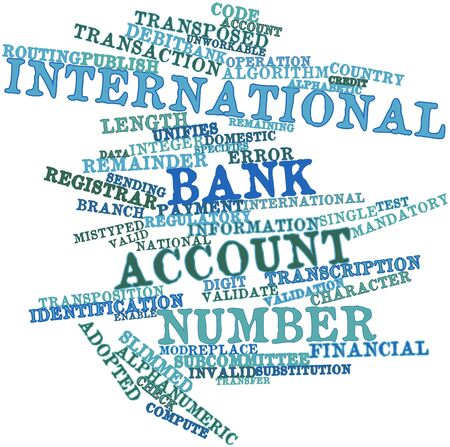 zeroes: Abstract word cloud for International Bank Account Number with related tags and terms