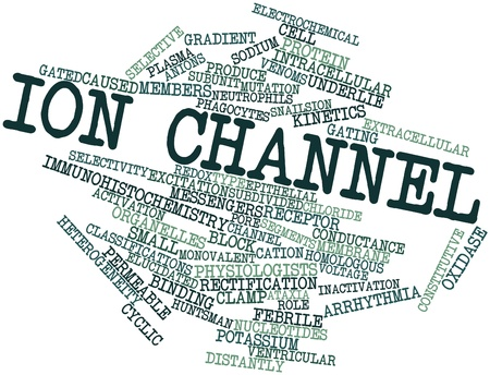 newts: Abstract word cloud for Ion channel with related tags and terms Stock Photo