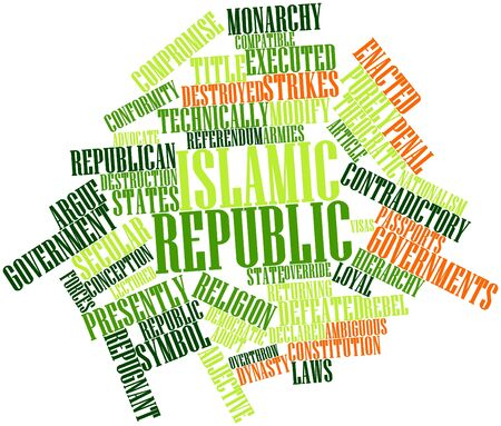overthrow: Abstract word cloud for Islamic republic with related tags and terms Stock Photo