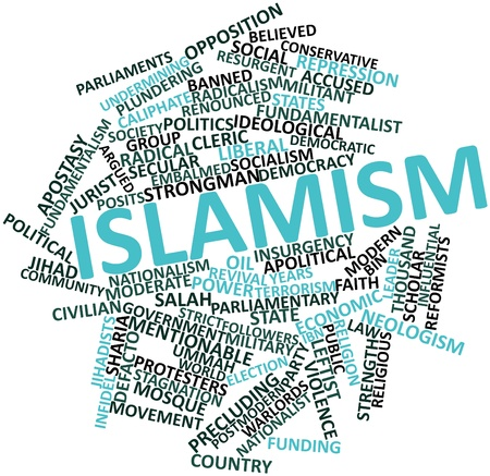 ideological: Abstract word cloud for Islamism with related tags and terms Stock Photo