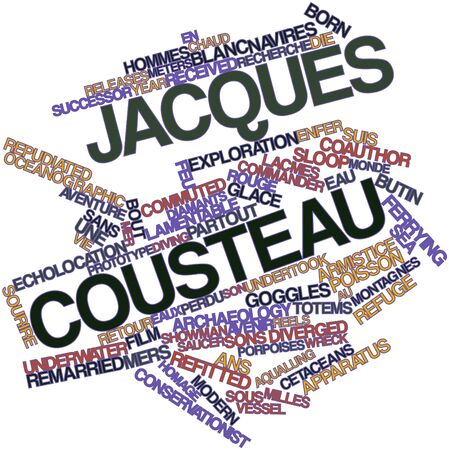 bout: Abstract word cloud for Jacques Cousteau with related tags and terms