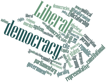 turnout: Abstract word cloud for Liberal democracy with related tags and terms
