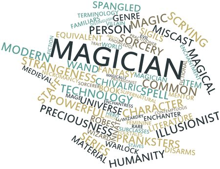 scrying: Abstract word cloud for Magician with related tags and terms Stock Photo