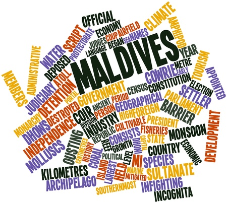 deposed: Abstract word cloud for Maldives with related tags and terms Stock Photo