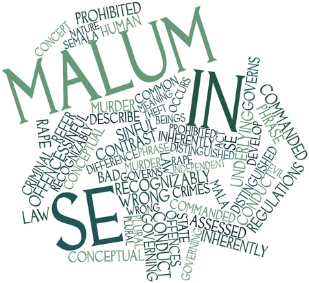occurs: Abstract word cloud for Malum in se with related tags and terms Stock Photo