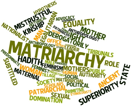 egalitarian: Abstract word cloud for Matriarchy with related tags and terms Stock Photo