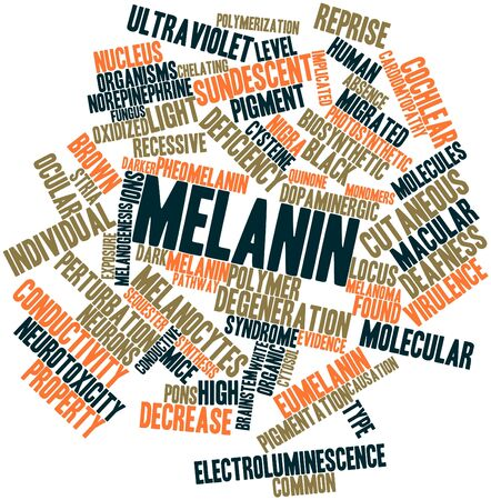ions: Abstract word cloud for Melanin with related tags and terms Stock Photo