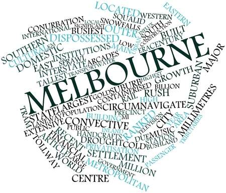 melbourne: Abstract word cloud for Melbourne with related tags and terms Stock Photo
