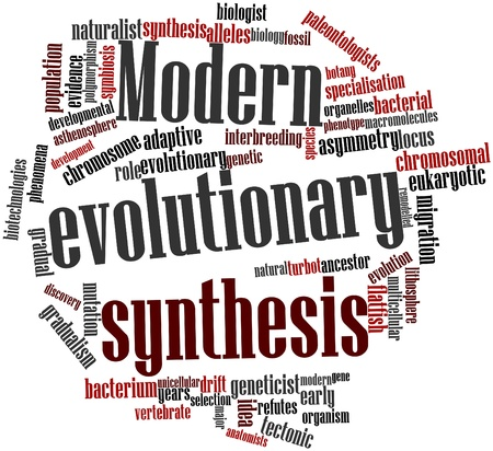 evolutionary: Abstract word cloud for Modern evolutionary synthesis with related tags and terms