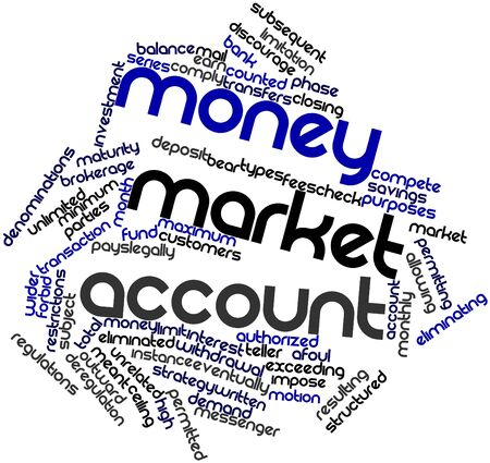 unrelated: Abstract word cloud for Money market account with related tags and terms