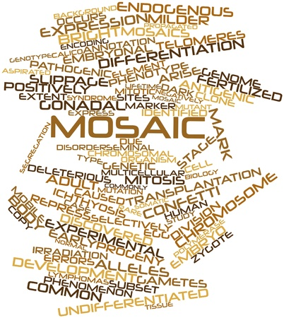endogenous: Abstract word cloud for Mosaic with related tags and terms Stock Photo