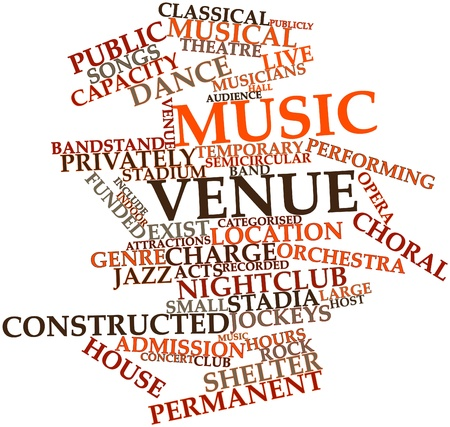 stadia: Abstract word cloud for Music venue with related tags and terms Stock Photo