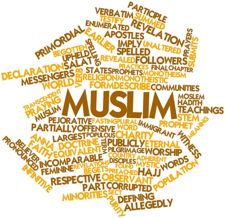 adherent: Abstract word cloud for Muslim with related tags and terms Stock Photo