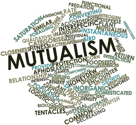 mutual: Abstract word cloud for Mutualism with related tags and terms Stock Photo