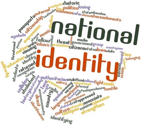 national identity: Word cloud astratto per l'identit� nazionale con tag correlati e termini