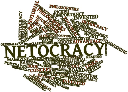 perceived: Abstract word cloud for Netocracy with related tags and terms Stock Photo