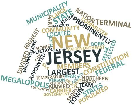 settled: Abstract word cloud for New Jersey with related tags and terms