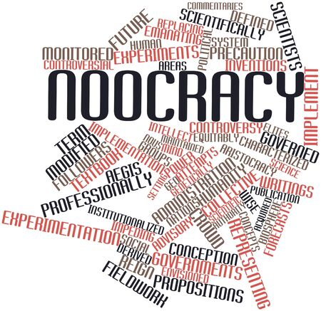 fieldwork: Abstract word cloud for Noocracy with related tags and terms
