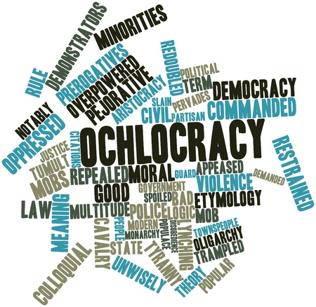 mobs: Abstract word cloud for Ochlocracy with related tags and terms