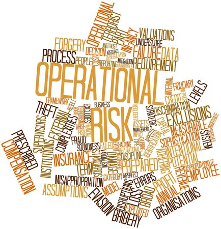 financial institutions: Abstract word cloud for Operational risk with related tags and terms