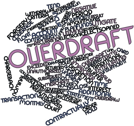 exceeded: Abstract word cloud for Overdraft with related tags and terms